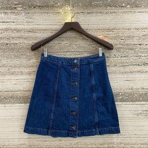 TOPSHOP Mini skirt high waist denim size UK 10. EUR 38